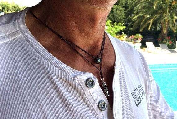 Man necklace, Tahiti pearl and tahitian Tiki on Australian leather