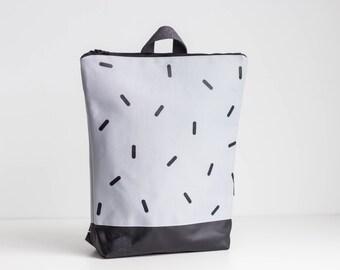"""Grey waterproof backpack, Screen printed """"Lines"""" design, 13"""" laptop backpack"""