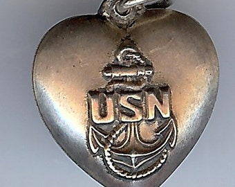 Vintage sterling silver USN United States Navy anchor logo PUFFY HEART charm