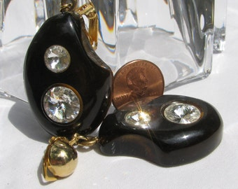 Funky and Fantastic Chunky LARGE Black Lucite with Embedded Rhinestones Dangling Earrings, Retro