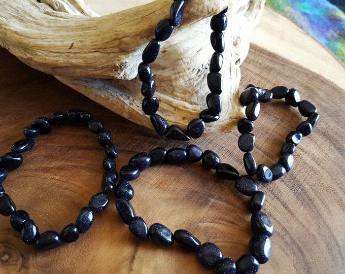 Tumbled Blue Goldstone stretchy bracelet ~ 1  Reiki infused gemstone bead bracelet approx 8 inches