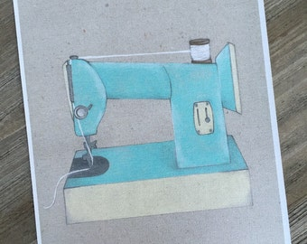 "Retro Sewing Machine, art print 8 1/2"" x 11"""