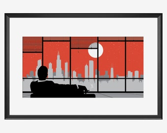 Chicago Skyline print, Chicago poster, Chicago art, Chicago print, Mad men Inspired, Mad men art, Mad men print, Chicago Illinois, Chicago