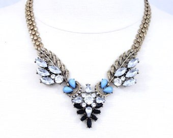 Crystal Wing Necklace Rhinestone Statement Necklace Leaf Bib Necklace Chunky Necklace Blue Necklace Bridal Necklace