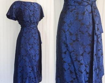 blue & black silk floral brocade Vintage 1950s tailored waist draped sash panels cocktail pinup dress