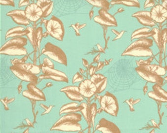 Aqua and tan leafy design BOTANY quilting fabric 25024-36