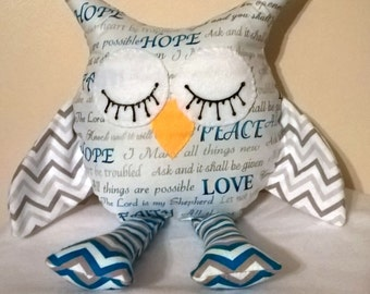 Stuffed Inspirational Owl/hope/peace/love/faith/home decor/childs decor