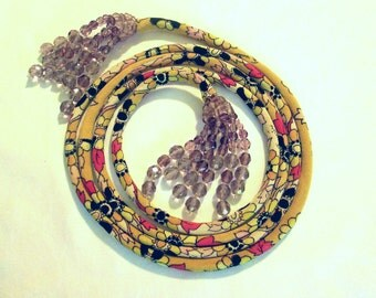Vintage groovy Cotton Elastic Belt With Knotted,Facted,Amethyst Beads