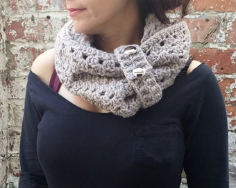 Crochet cowl with buttons , scarf with cuff, chunky scarf . Beige scarf with buttons.  Crochet neckwarmer
