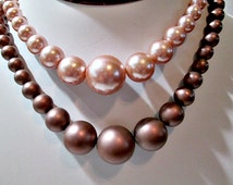 Pink and Mauve Double Strand Necklace Japan Lucite Beads 1960's Early Plastic Choker
