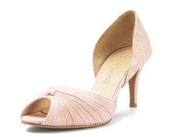 Jasmine Custom Made Nude Lace Heels, Peach Lace Wedding Shoe, Blush Bridal Heels, Nude Peep Toe Heels