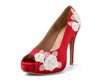 Red Rose Garden V3 Wedding Heels, Red Satin Lace Bridal Heels, Red Wedding Shoe, Lace Bridal Shoes, Satin Peep Toe Pumps