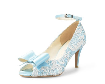 Sky Blue Custom Made Heels, Baby Blue Heel with White Lace, Sky Blue Heel with Bow and Ankle Strap