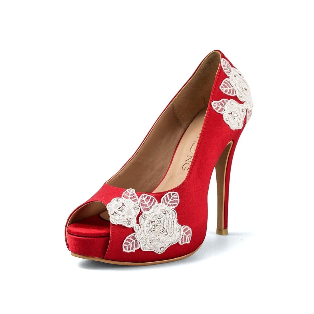 Red Rose Garden V3 Wedding Heels Red Satin Lace Bridal Heels