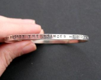 Sterling message bangle. Inspirational jewelry. Minimalist jewelry. Personalised sterling bracelet.