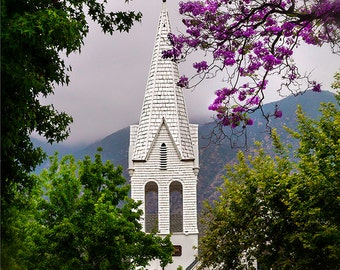 Vintage Old White Wooden Church With Beautiful Steeple Among The Trees Fine Art Photography Print Free Shipping