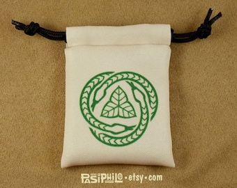 Druid Fantasy RPG Mini Drawstring Dice Pouch, Colour Symbol