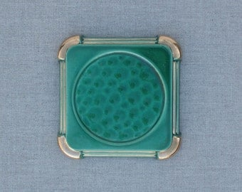 vintage french art deco ceramic wine bottle coaster, jade green and gold, sous bouteille, 1930's home, ceramic trivet
