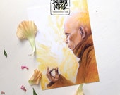 Postcard, Greetingcard (A6) 'Sun' painting featuring the portrait of Thich Nhat Hanh