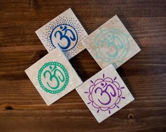 OM Coasters- Coasters- Hand Painted Om- Coaster set of 4