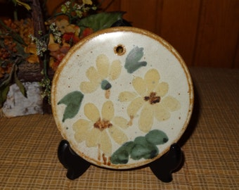 Aldrich Pottery Trivet / Pottery Wall Decor / Flower Wall Decor / Pottery Plaque