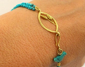 Turquoise Bracelet - gold Bracelet - 18k gold Bracelet - Seeds Collection - Free Shipping!!!