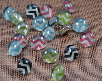 Chevron Glass Push Pins, Set of 10 // Decorative Push Pins // Decorative Thumb Tacks // Office Organization // Dorm Decor