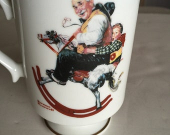 Vintage Norman Rockwell Gramps at the Reins collectible mug 1981
