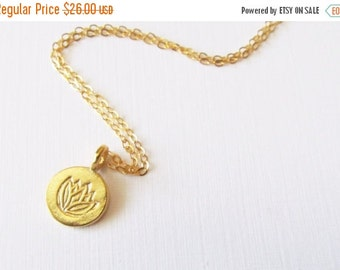 Lotus FlowerNecklace, Gold Filled Necklace Gift for Her