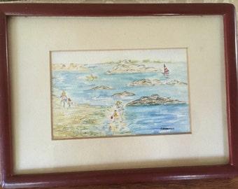 Vintage Framed Water Color, Beach Scene, Newport RI, Bettie Sarantos, Collectible Art, Unique Gift, Rhode Island Memento, Interior Design, R