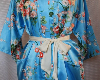 Vintage Blue Kimono Robe