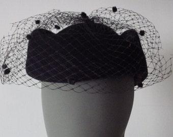 1950s Miss Bierner Hat Navy Wool Felt Veil Military Style Pillbox