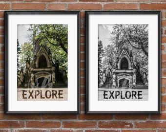 Castle Photography Prints - Explore Art Print - Black or White and Color - 8x10 - 5x7 - Home Decor