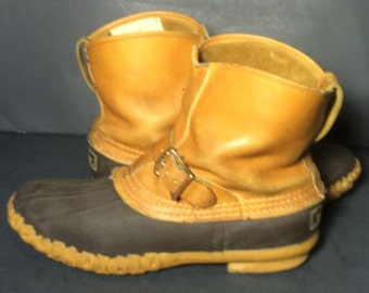 LL Bean Brown Leather & Robber Duck Rain Vintage Boots Women's Size 8