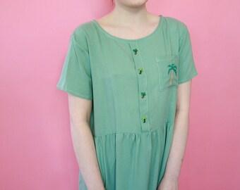 Green Palm Tree Slouch Dress