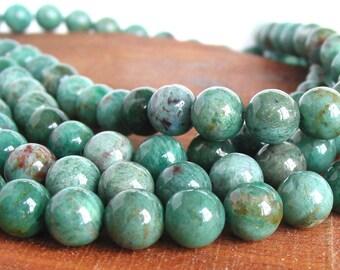 "15"" 10mm Prase Green round gemstone Beads - Half / Full strand"