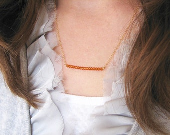 Bar Necklace - Swarovski Crystals, Crystal Bar Necklace, Burnt Orange Crystal Necklace, Crystal Rod Necklace - 14k Gold-Filled chain