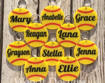 Personalized Softball Keychains: Solid Yellow Acrylic with Design on Both Sides. Eight Design Options - Bag Tag- Keychain - Sports -