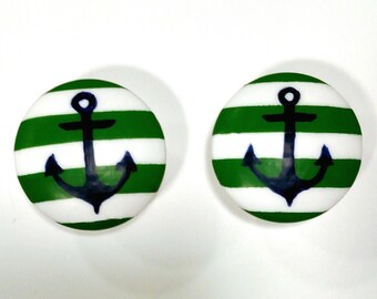 Custom Stripe Anchor Hand Painted Drawer Pull, Stripe and Anchor Drawer Knob (Individual knobs)