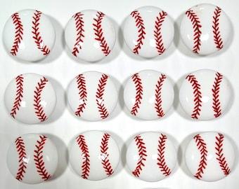 Baseball Hand Painted Drawer Knob, Sports Drawer Knob (Single Knob)