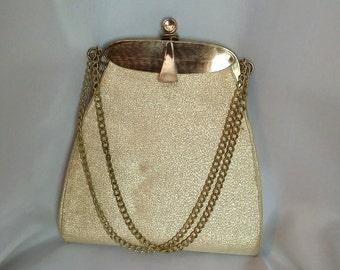 Shop closing 70% off Gold metallic evening bag 60s gold fabric evening bag