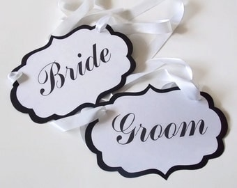 Bride and Groom Chair Signs,Wedding Chair Signs,Reception Bride Groom Chair Signs,Bride Chair Sign,Groom Chair Sign