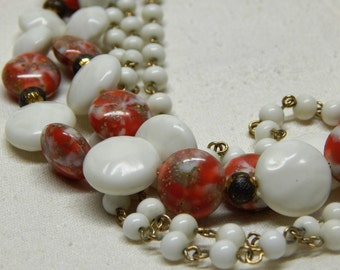 Stunning Multi Strand Necklace Red & White Marble Style Beads