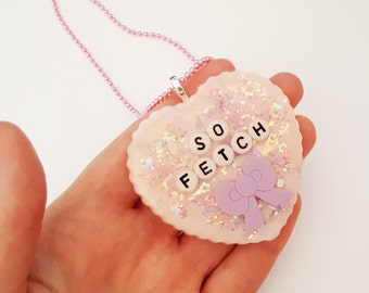 Mean Girls resin necklace - 'SO FETCH' pastel pink glitter and hearts