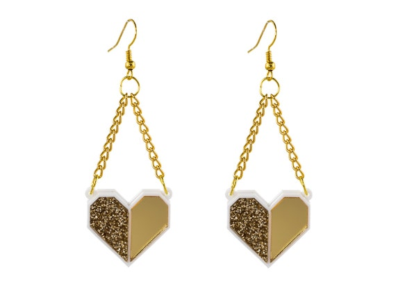 Origami Heart Earrings Gold and White Geometric Heart Dangle - photo#18