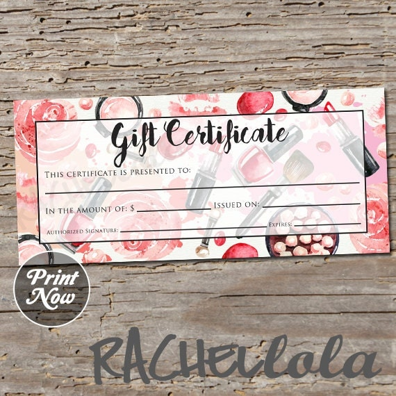 Red Makeup Printable Gift Certificate Template Spring Direct
