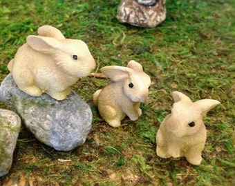 Three Rabbits/Bunnies Fairy Garden Rabbit Figurines Resin Critters