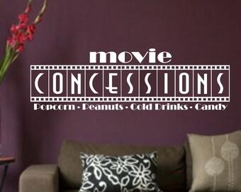 Home Theatre Concessions Vinyl Wall Art Sticker Home Decor Theater