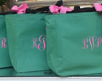 Monogrammed Bridesmaids tote bags MIX and MATCH colors