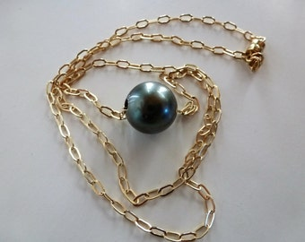 Tahitian Pearl Slider Necklace - a 13mm silvery black Tahitian pearl glides freely on gold cable chain, magnet clasped.